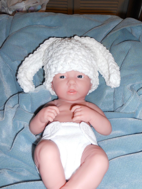 SALE Plush White Bunny Hat Boy or Girl --Ships Tomorrow