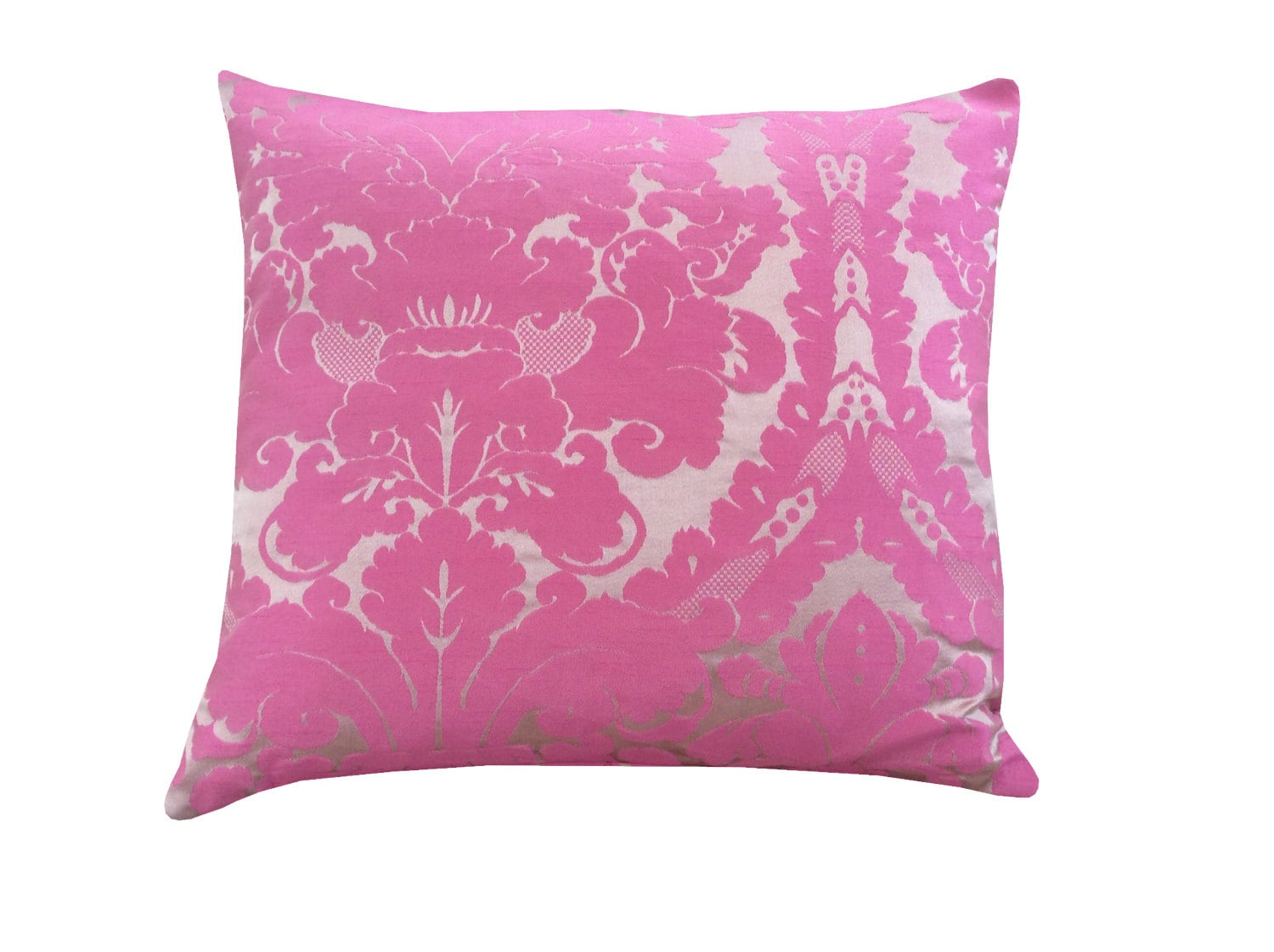 Stunning hand made Designer Silk Damask cushion covers in cerise pink  beige curtain fabric pillow case HomeKitchenBedroomSofa