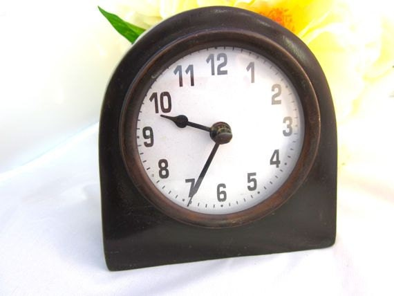 Vintage Desk Clock Brass Home Decor