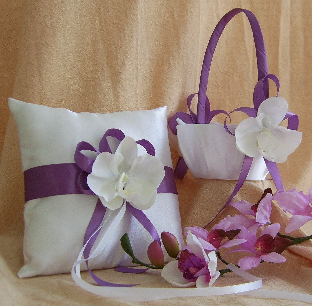 Flower Girl Baskets And Ring Pillows : Wisteria wedding color flower girl basket and ring bearer