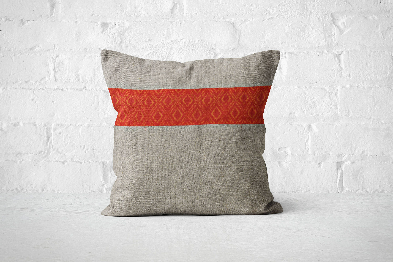 Linen Pillows Bohemian House Dcor Linen boho pillow Orange pillow Decorative Pillow for couch Trendy Vibrant pillow boho office dcor