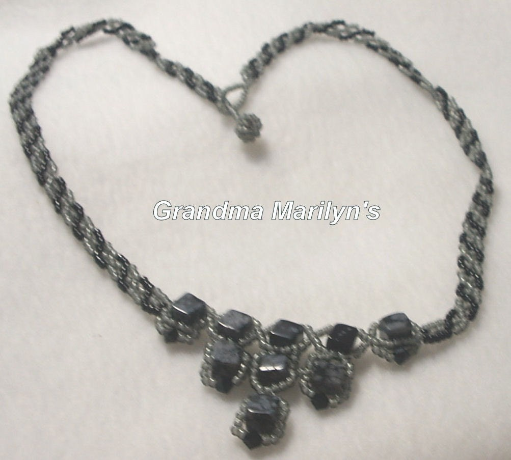Snowflake Obsidian Necklace  OOAK   GMN0008 by GrandmaMarilyns from etsy.com