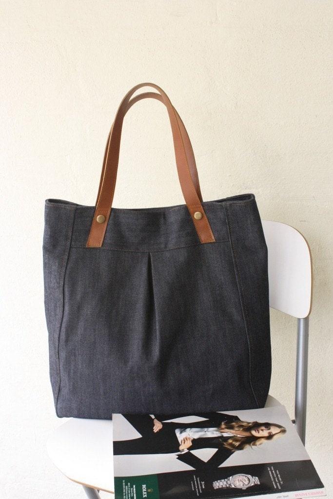 Juliet tote - dark blue denim with genuien leather strap
