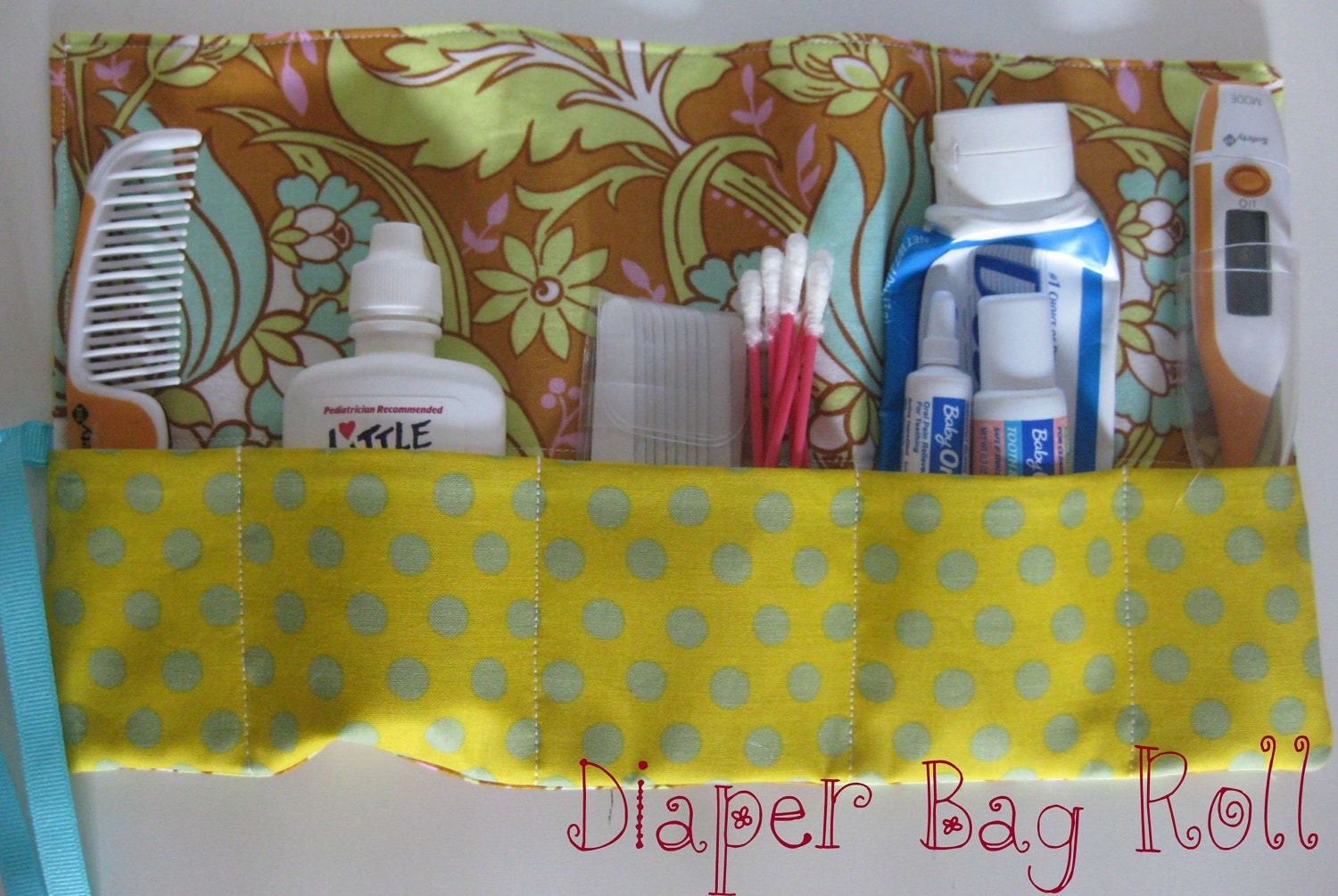 Diaper Bag Roll - Floral Pattern with Dots