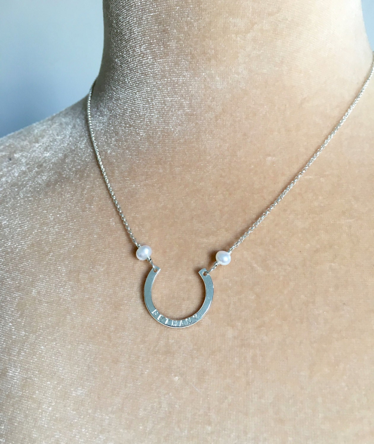 Silver horseshoe necklace for her name necklace for bridesmaid gift for bride on wedding day gifts from maid of honor  Gwyneth
