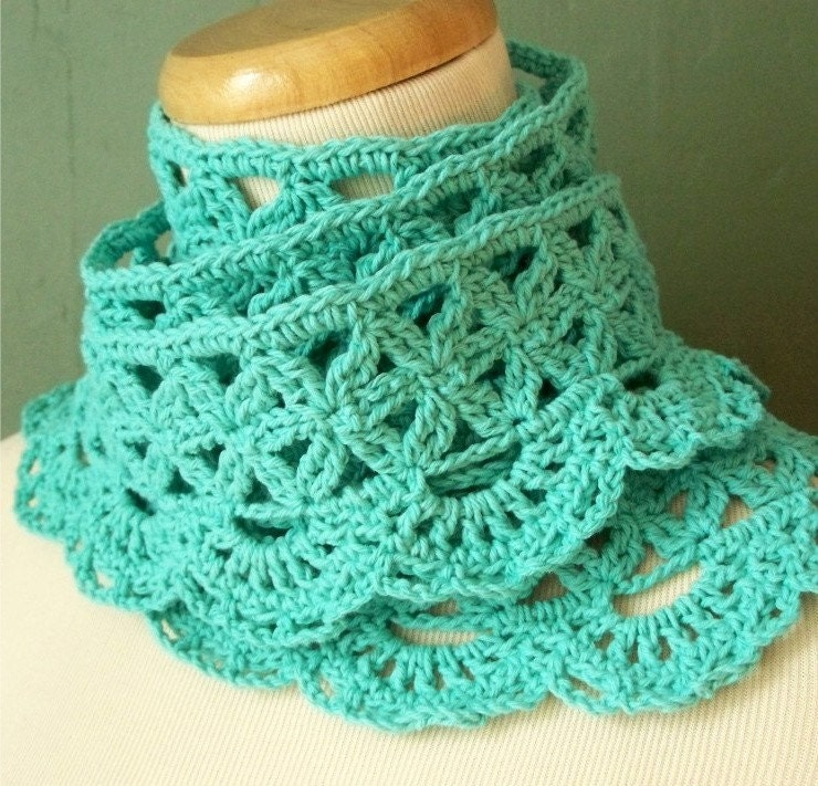 Extra Long Lace Scarf in Blue Cotton