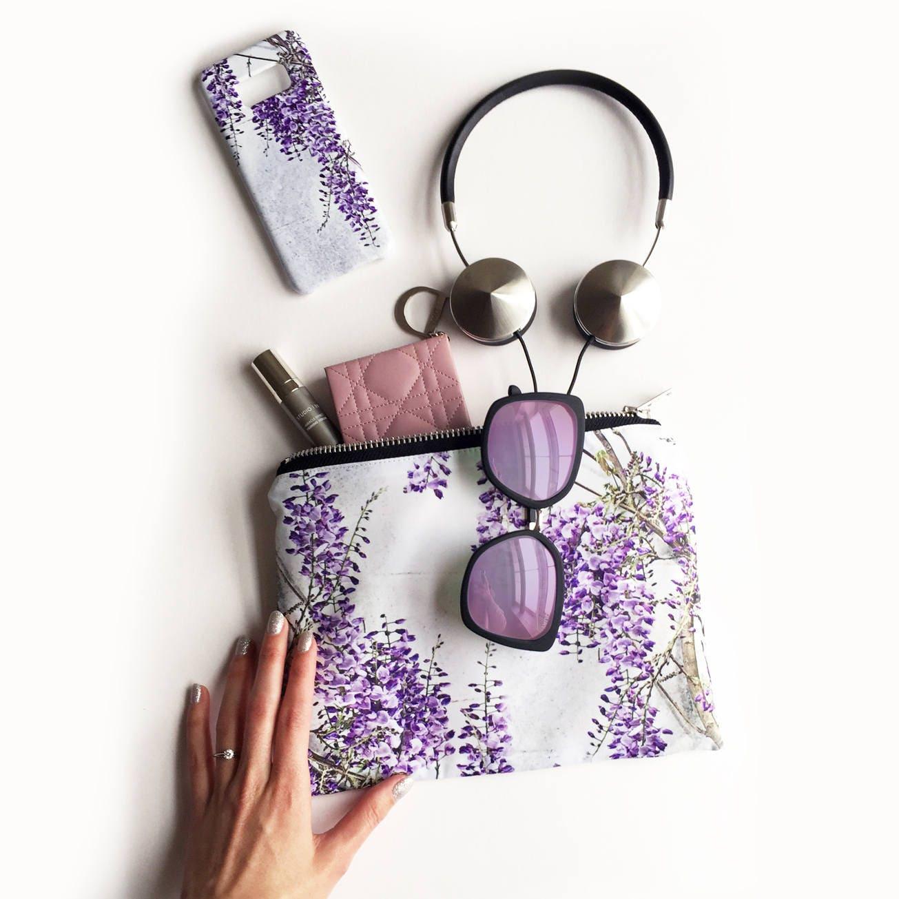 Wisteria Portfolio clutch bag  waterproof wash bag travel zipper bag beach bag wisteria print make up bag cosmetics bag clutch bag