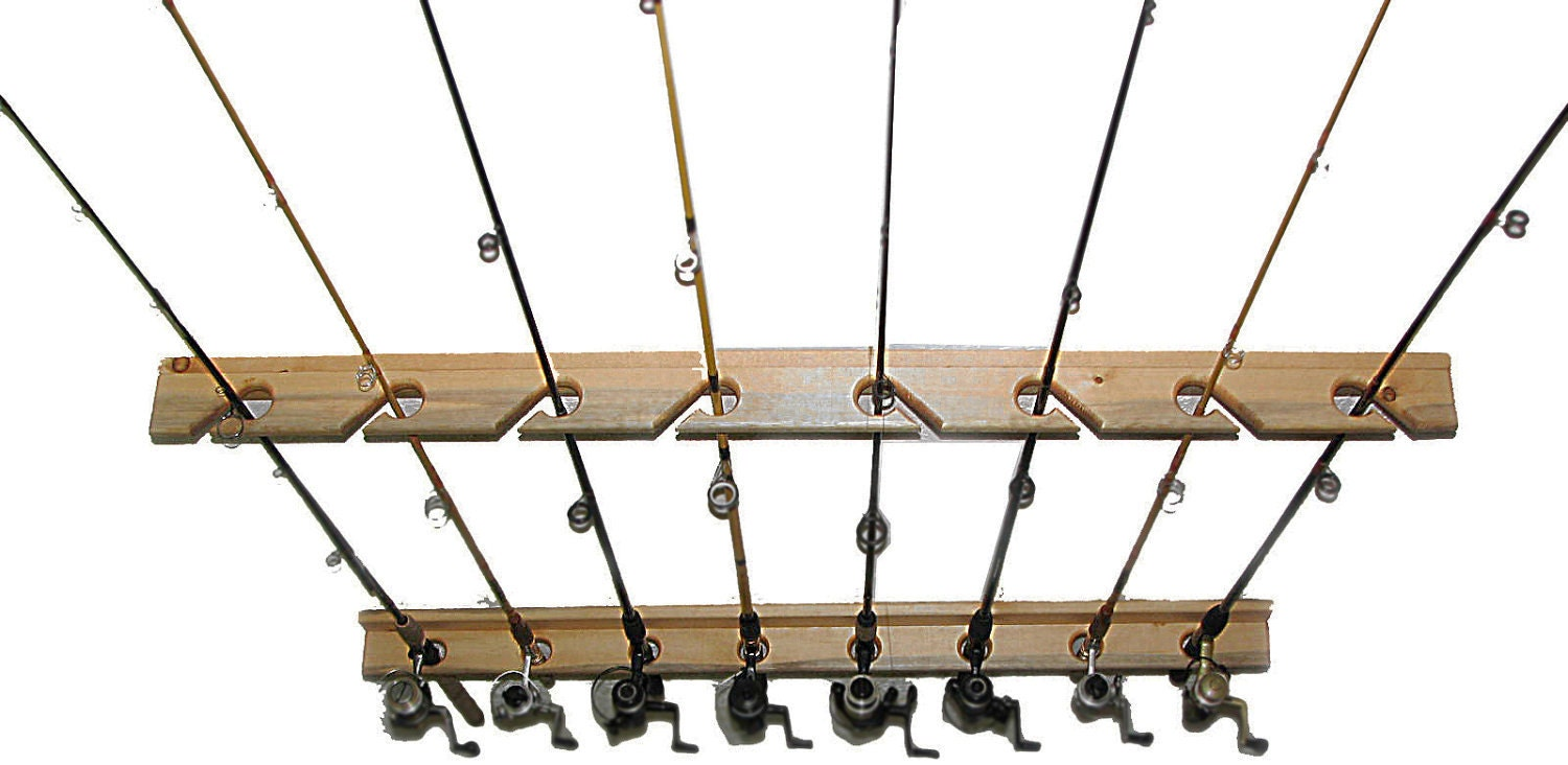 Fishing rod storage rack holds 8 ceiling or vertical by for Fishing rod ceiling rack