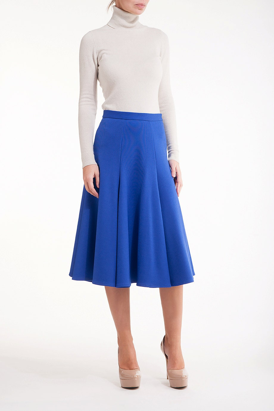 cobalt blue flared midi skirt by lanastepulapparel on etsy