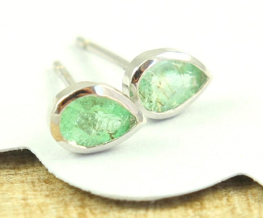 Green Paraiba Tourmaline Earrings 14k White Gold By