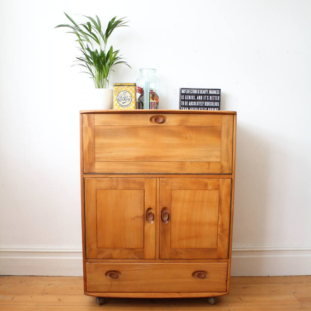 Restored rare mid century model 430 Ercol Windsor bureau  drinks cabinet