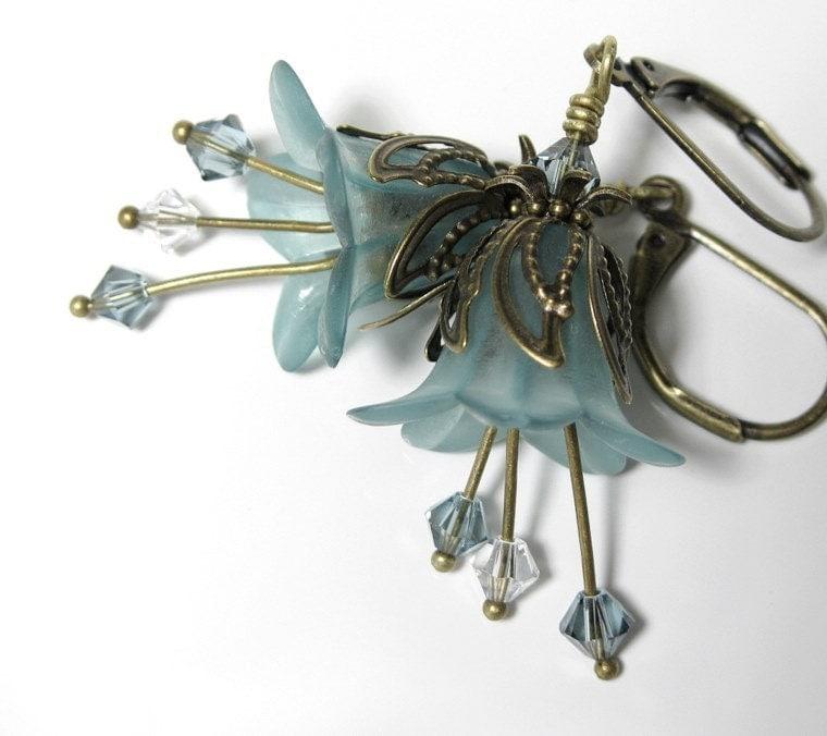 Aqua Frost Vintage Style Flower Earrings