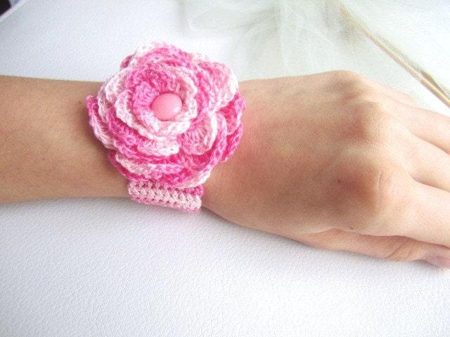 h keln armband h keln rose blume armreif wei rosa armband mit kn pfen cotton frau armband. Black Bedroom Furniture Sets. Home Design Ideas