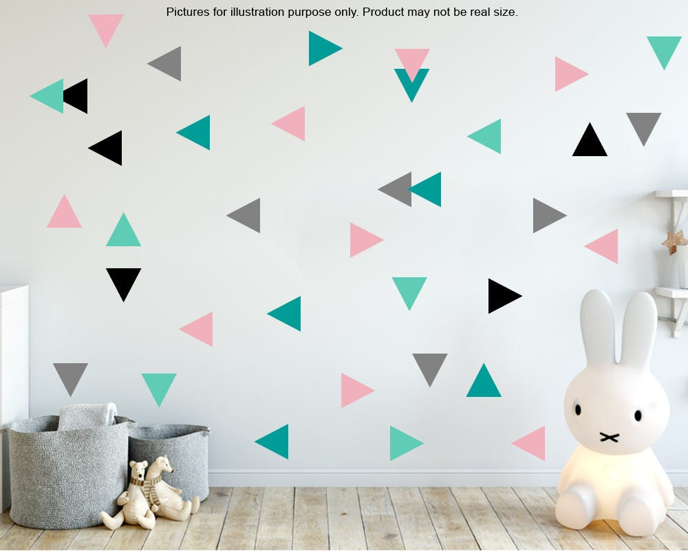 Image of 100 Triangle wall stickers, gold triangle wall stickers decor, Confetti Wall Decals,Triangle Confetti Wall Stickers, geometric wall stickers