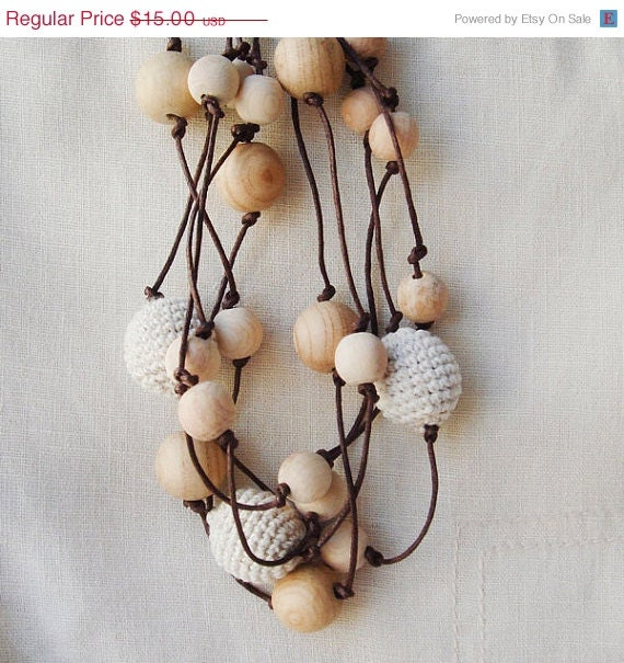 linen necklace crochet  natural wood beads Rustic Simple Elegant ecofriendly nursing necklace mothers day - MiracleFromThreads