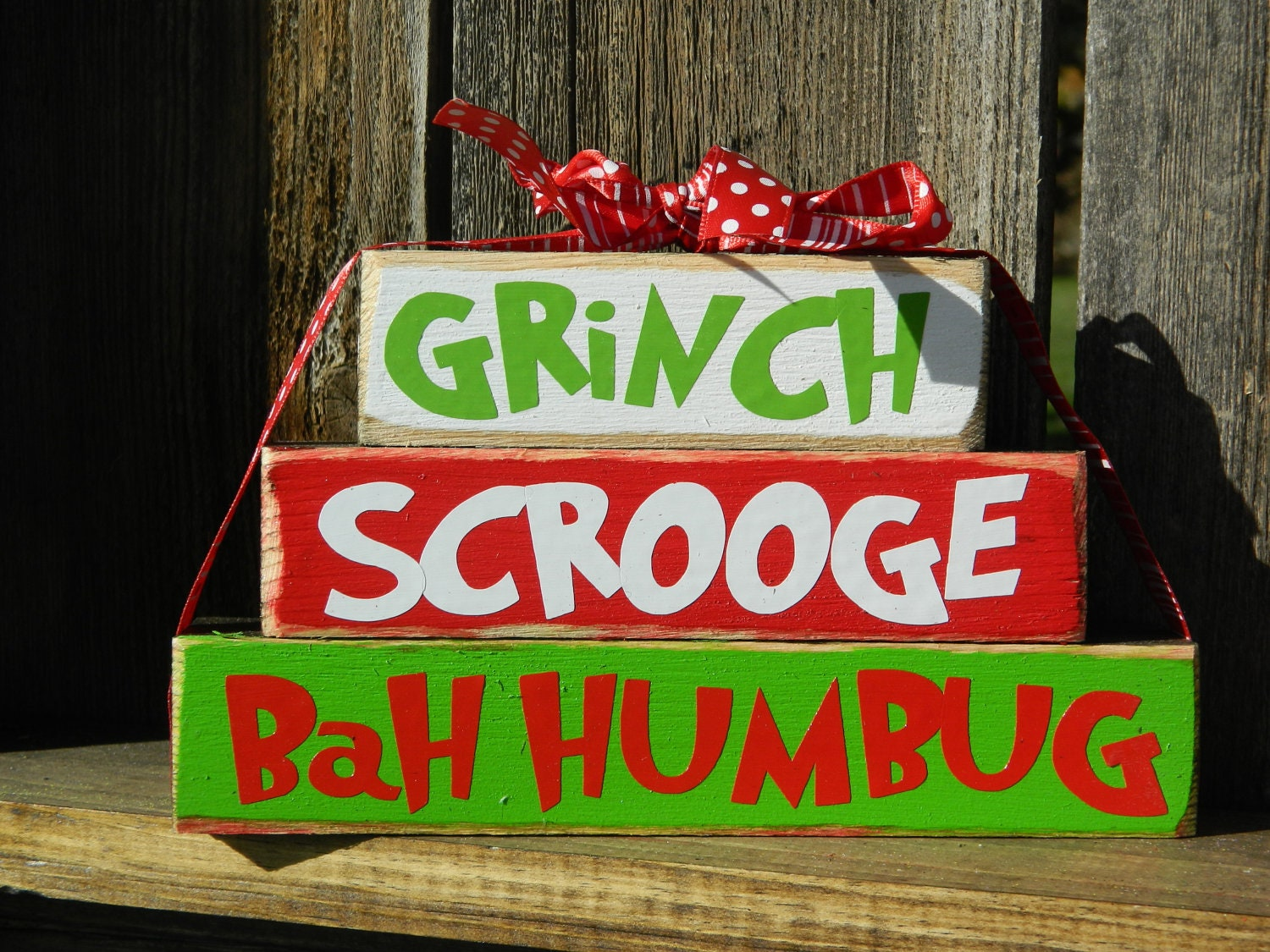 Christmas wood blocks grinch wood stackers by for Bah humbug door decoration