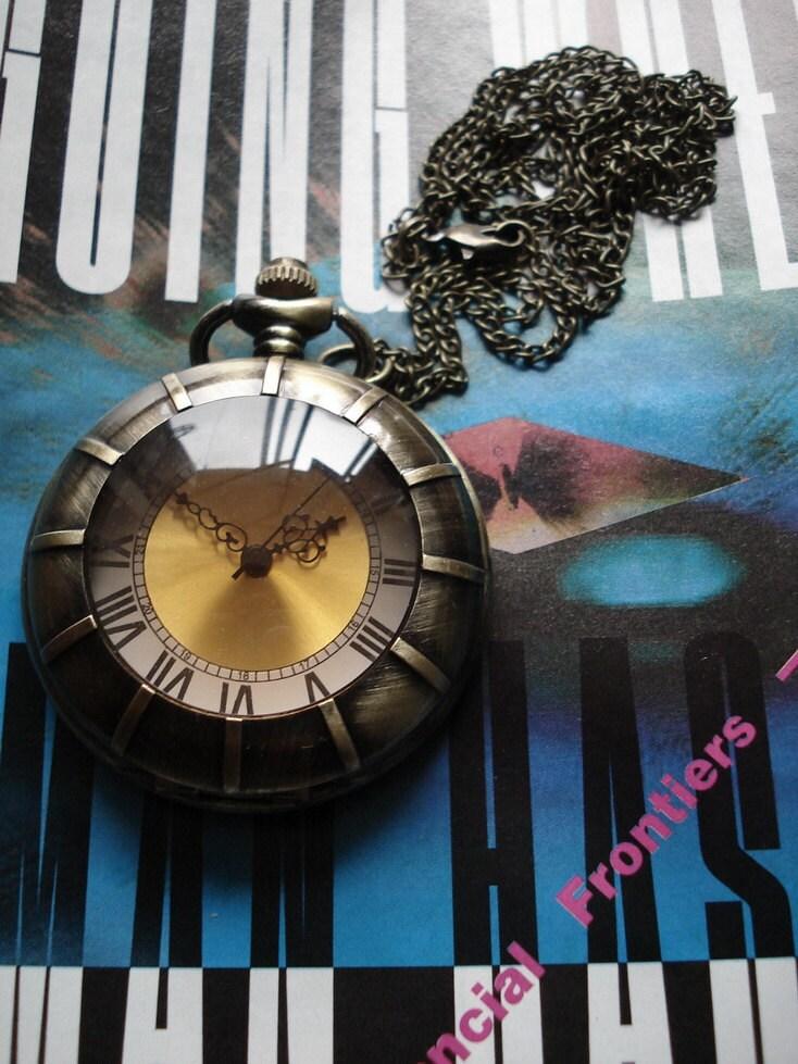 20% HOLIDAY SALE Golden Color Necklace Pendant bronze Pocket Watch quartz Gift Chain  E184