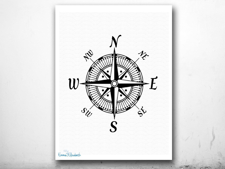 Vintage Compass Wall Decor : Items similar to nautical art illustration vintage compass