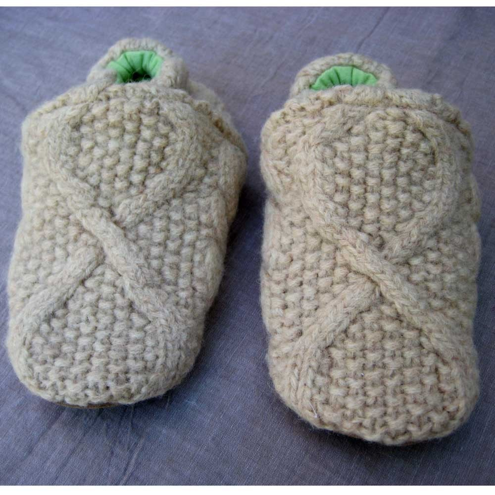 Fisherman Knit Wool Kids Slippers Leather Bottom fits 4-5 years old made from recycled materials