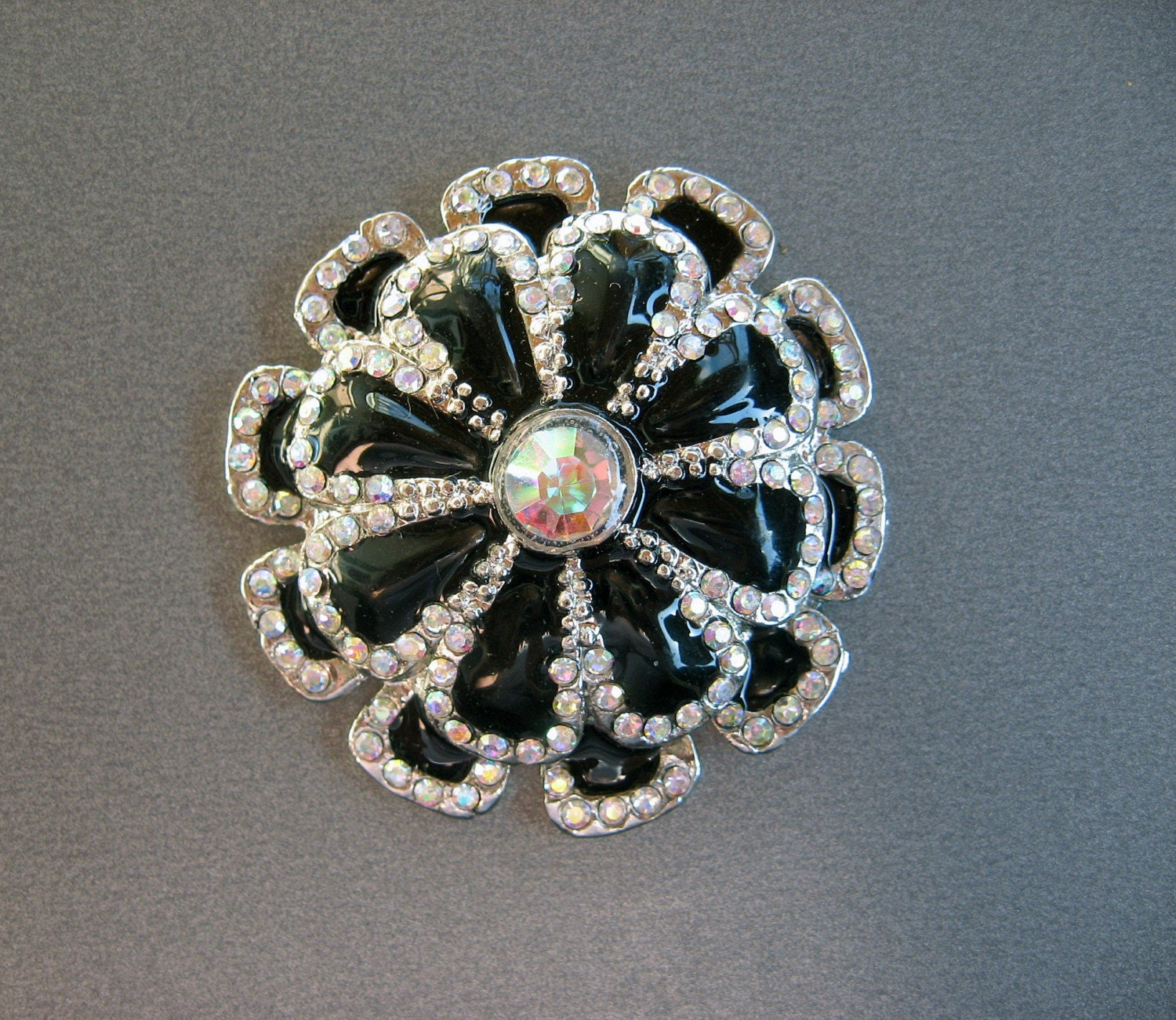 Rhinestone and Enamel Magnet - Repurposed Brooch