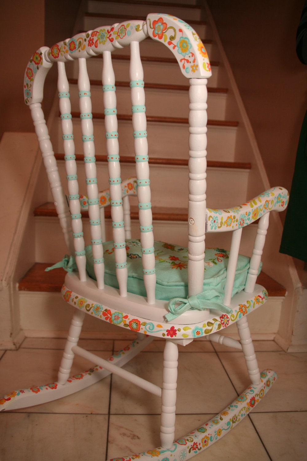 Hand painted child s rocking chair with up to two base paint colors