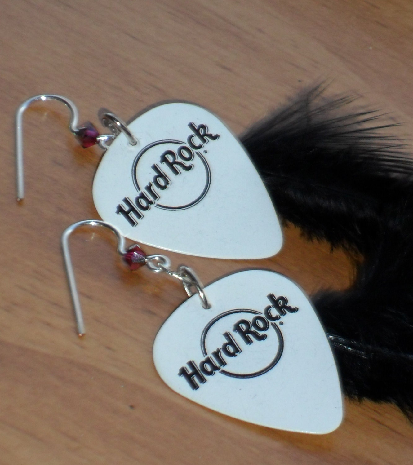 Wings and Things Guitar Picks and Feathers Earrings