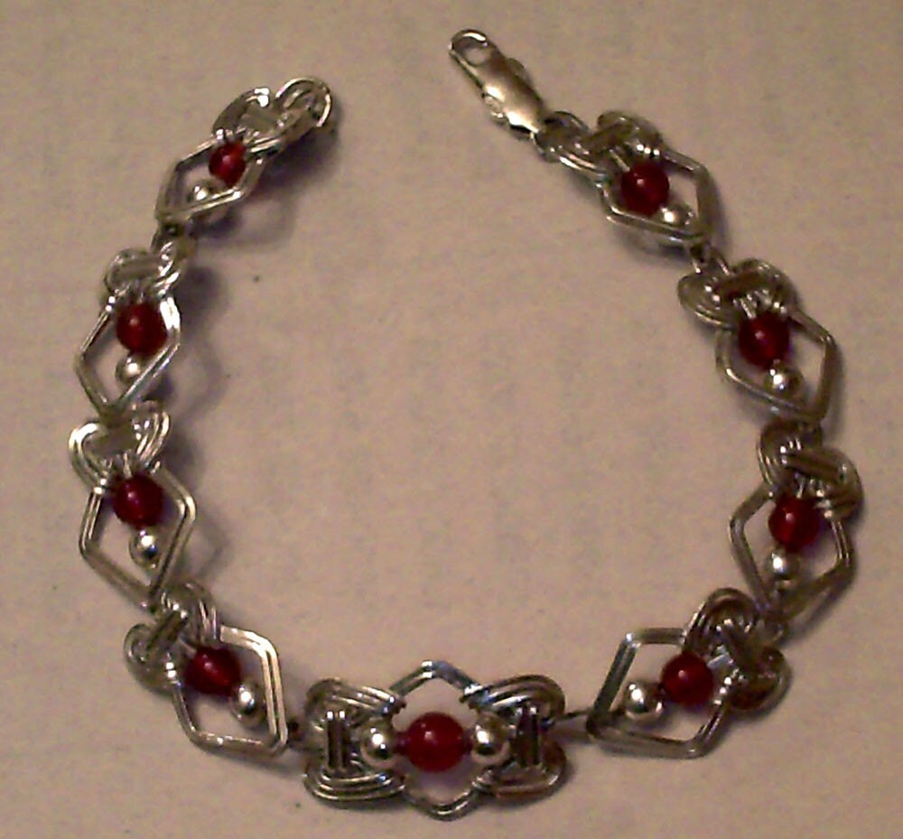 DoLoBo King Arthur Collection - Lady Anne Sterling Silver and Carnelian Wire Wrapped Bracelet - Fine Detail - Free Domestic Shipping Medieval Renaissance