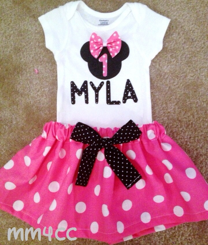 Minnie mouse outfit dress first birthday party pink skirt onesie
