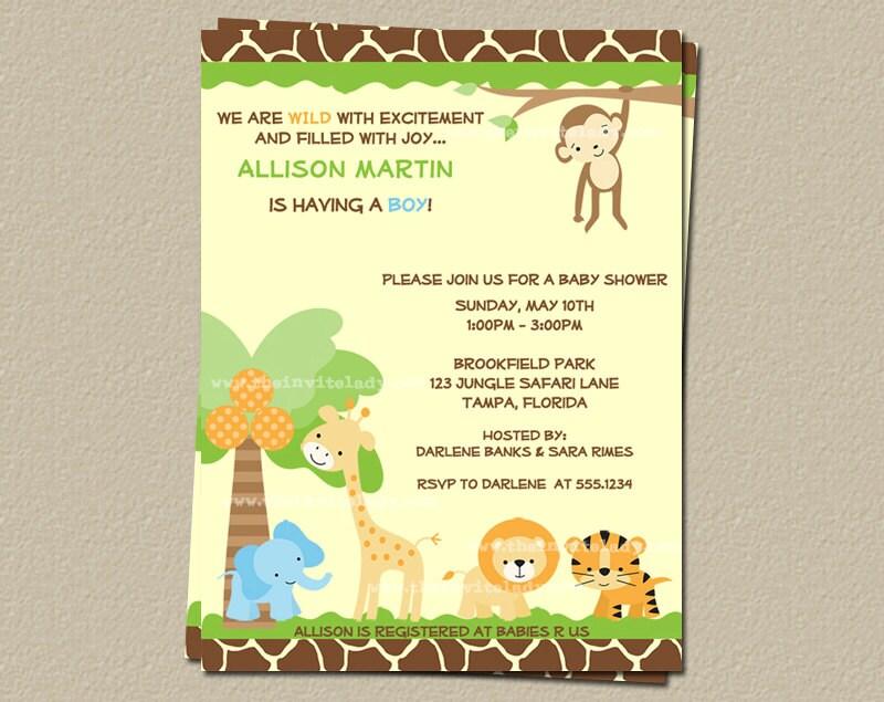 safari baby shower invitations jungle theme set of 10 invites with