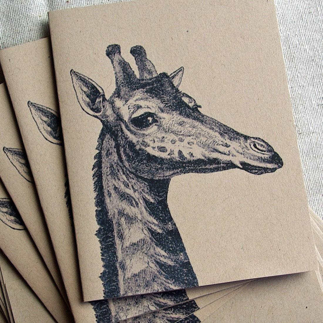 Recycled Kraft Paper Card Set - Giraffe Peak A Boo in Black and White