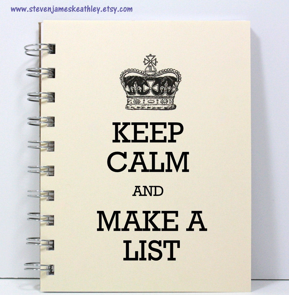 Keep Calm Journal Notebook Sketch Book Diary - Keep Calm and Make a List - Ivory