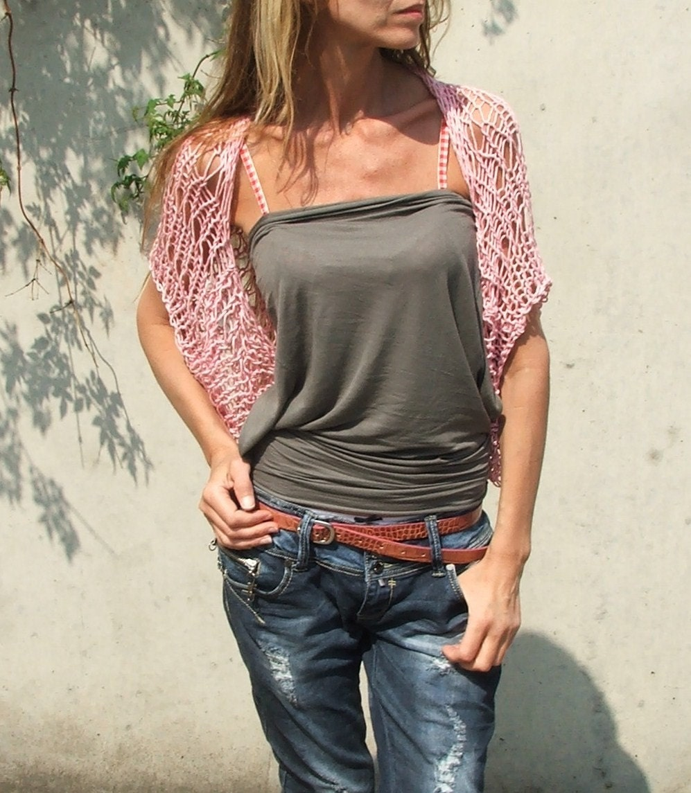 Soft  pink Loose weave cotton shrug Ltd Edition in this shade