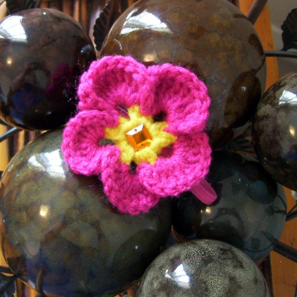 Pink Plumeria Ponytail Holder