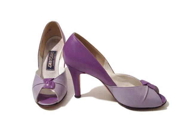 Vintage Purple Two Tone 1950's Style Peeptoe Pinup Heels 7