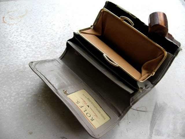 Leather Grey Wallet/ Billfold. By ROLF...which is the noise a dog makes when you make it hurl.