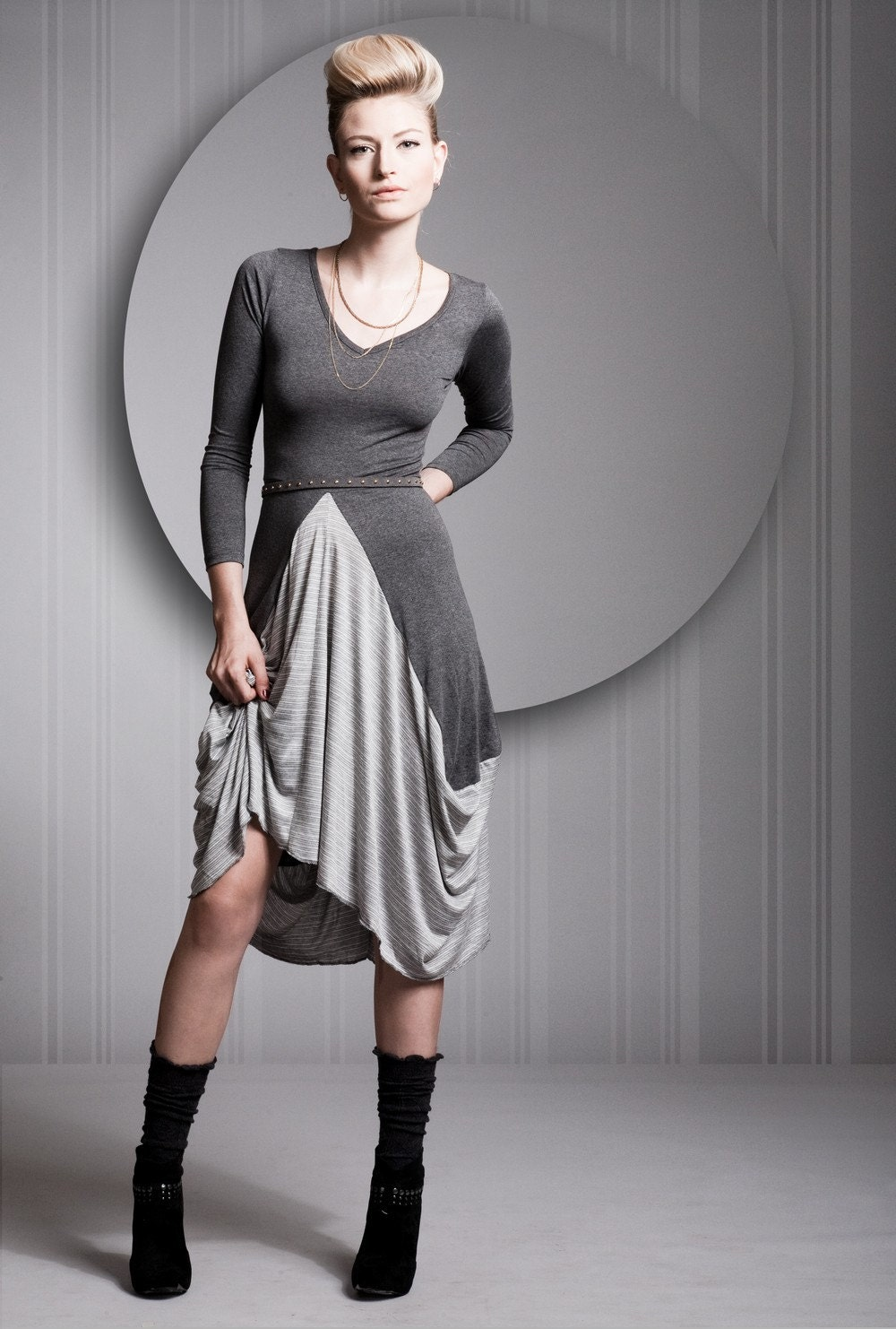 Grey Dress, Gray Dress, Cotton Lycra Dress, Long Sleeves Dress, Gray Robe, Any Sizes, Knee Length - Special Sale - OrliGolan