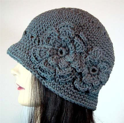 Adult Double Flowered Cloche Hat, Slate Gray