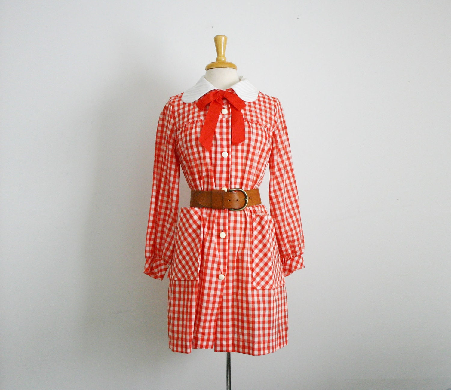 1960s peter pan collar yoke front midi babydoll dress in red and white gingham , size large - TheArborVitae