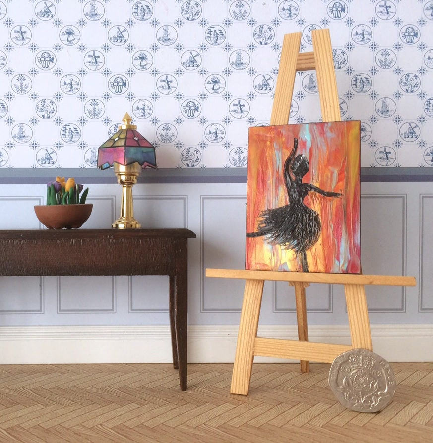 Dancing Ballerina Dolls House Painting Silhouette with Fire Ballet abstract background Original Art Dollhouse Picture