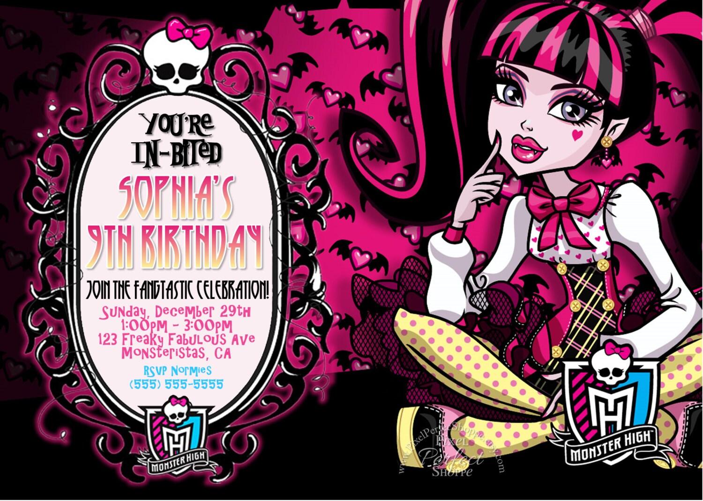 Similiar DIY Monster High Invitations Keywords – Monster High Birthday Invitations