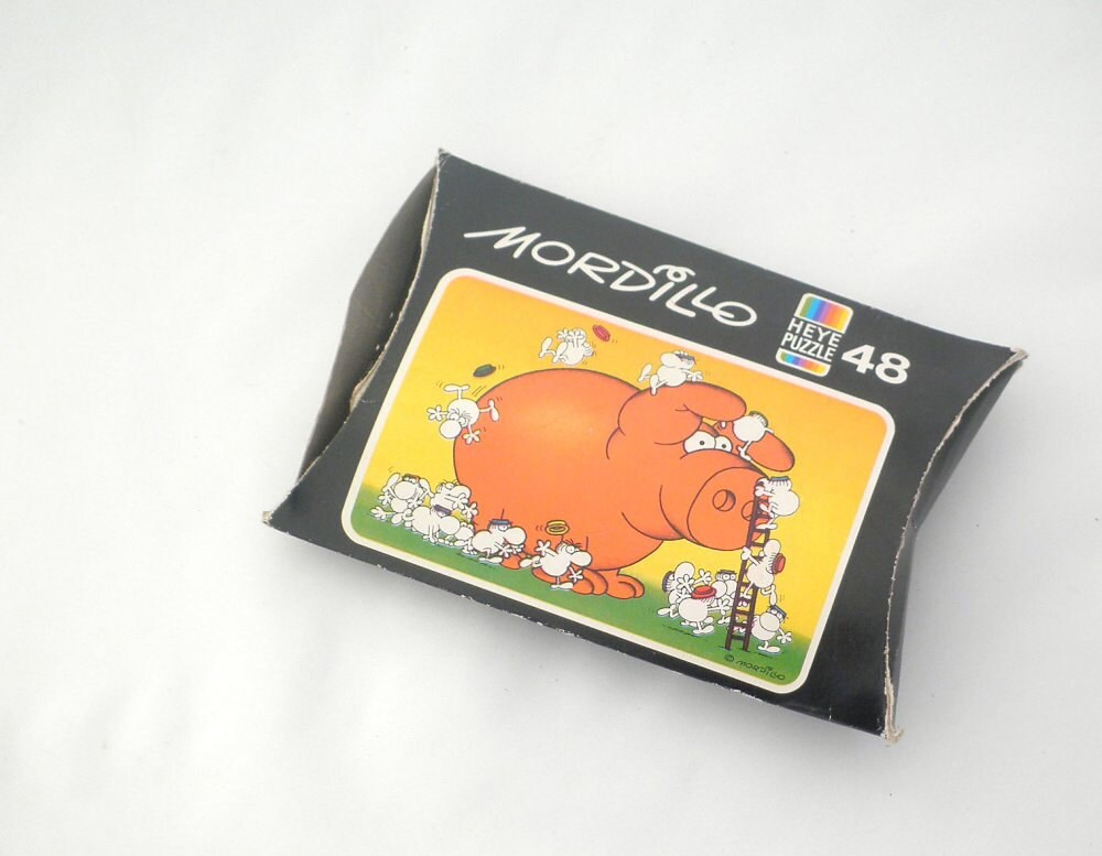 Vintage Mordillo Mini Puzzle: Giant Pig