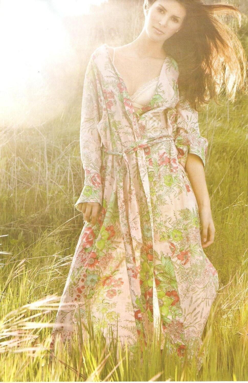 plumprettysugar Kimono Style Robe.  Ankle Length.  Pink Love Poppy.