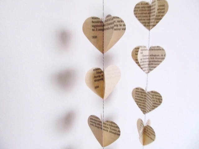 Sewn paper heart garland decoration from Hungarian vintage book pages . eco friendly . set of 2