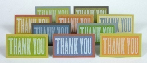 THANK YOU Letterpress Wood Type Mini Cards and Envelopes