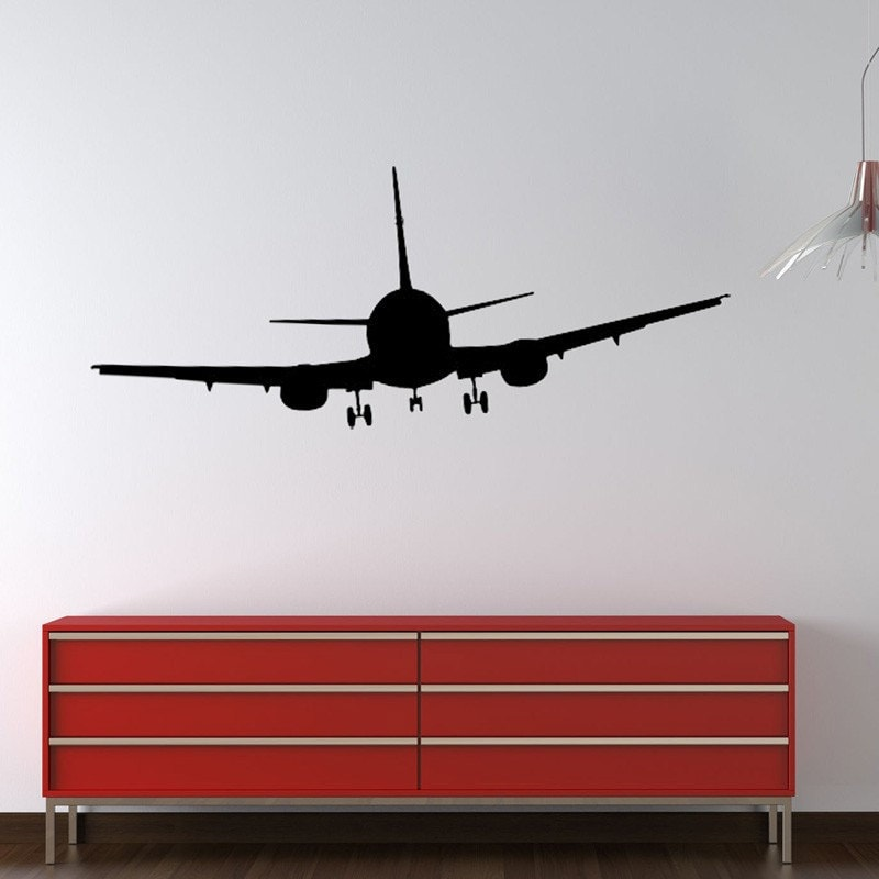 Airplane modern vinyl wall decal by circlelinestudio on etsy for Aeroplane wall mural