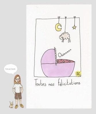 """Carte """"Toutes nos félicitations"""" (naissance petite fille)"""