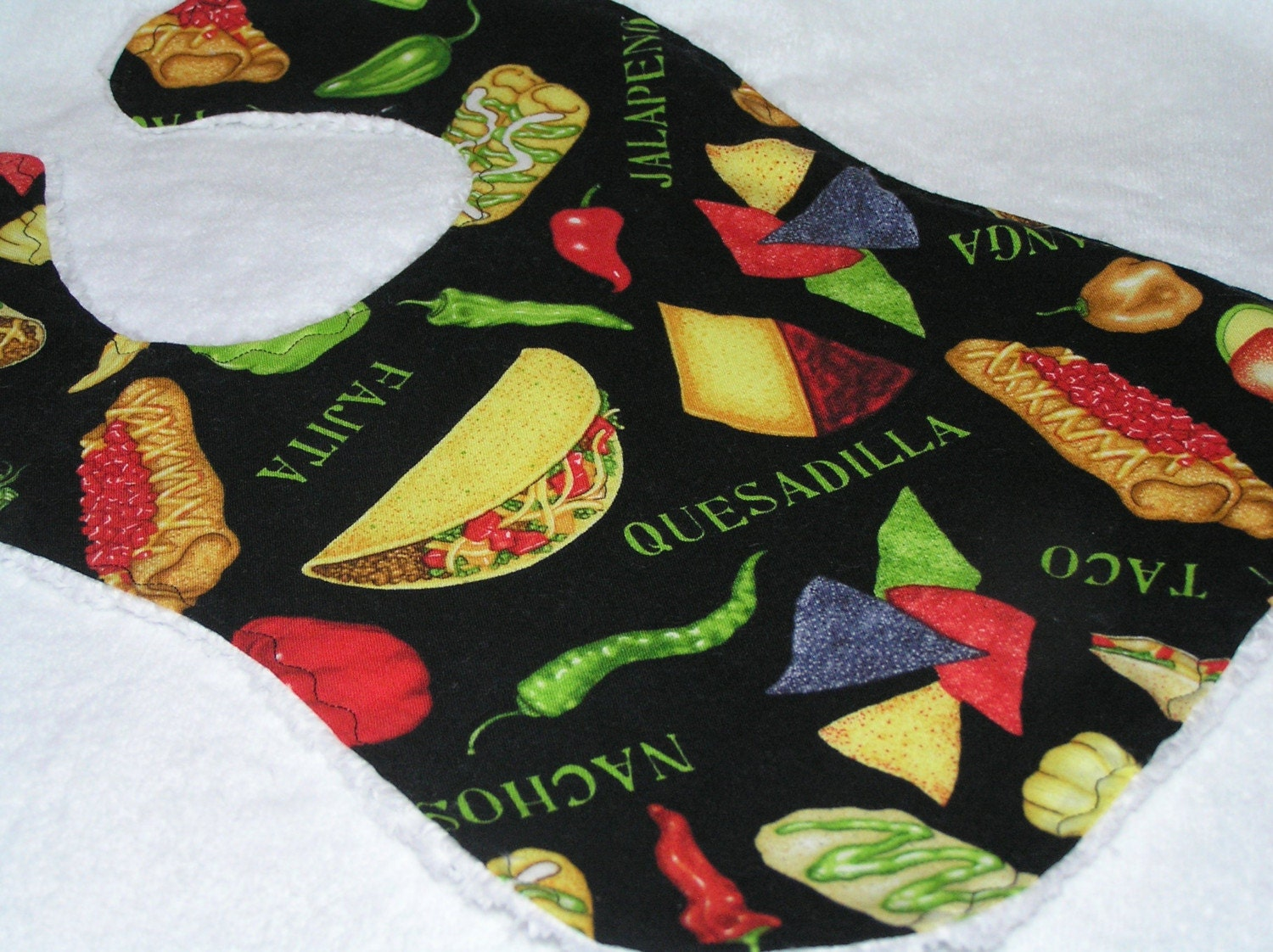 Salsa - Mexican Food Tossed on Black - White Chenille Baby Bib