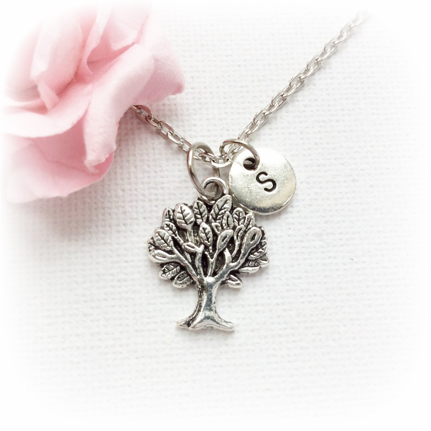 Tree Necklace tree jewellery tree Gift tree Charm Jewelry Personalised jewelry initial necklace handmade necklace SPMCINTREE2