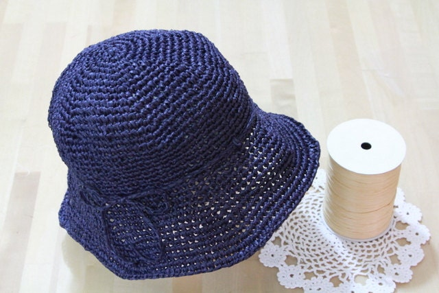 Navy Blue - Eco crochet cloche hat - raffia yarn - fiber plant
