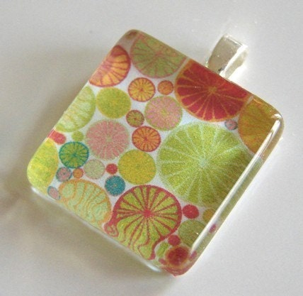 CITRUS FRUIT - Glass Tile Pendant - Buy 2 Pendants Get 1 Free